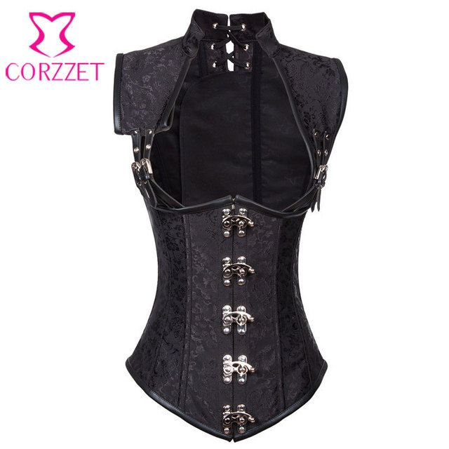 2086 Black Collared Brocade Steampunk Corset Underbust Vest Steel Boned Waist Slimming Corsets and Bustiers Sexy Cupless Bustier
