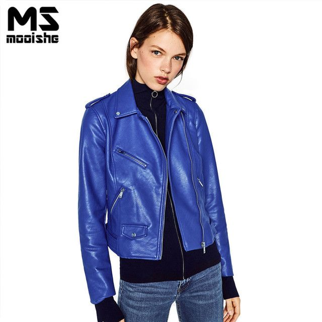 Mooishe Spring ZA Women PU Leather Jacket Coat Long Sleeve Zipper Red Blue Slim Ladies Jacket Outwear