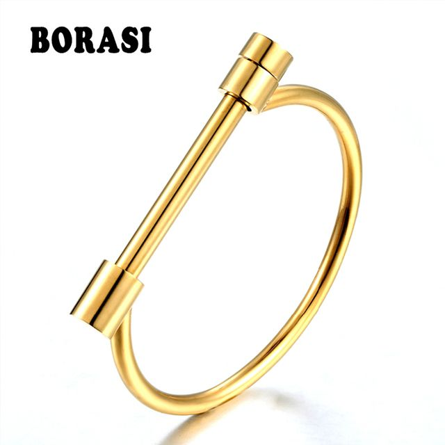 BORASI Fashion Shackle Screw Cuff Bracelet Gold Color Stainless Steel Bracelets & Bangles For Women Love Bracelet Wholesale