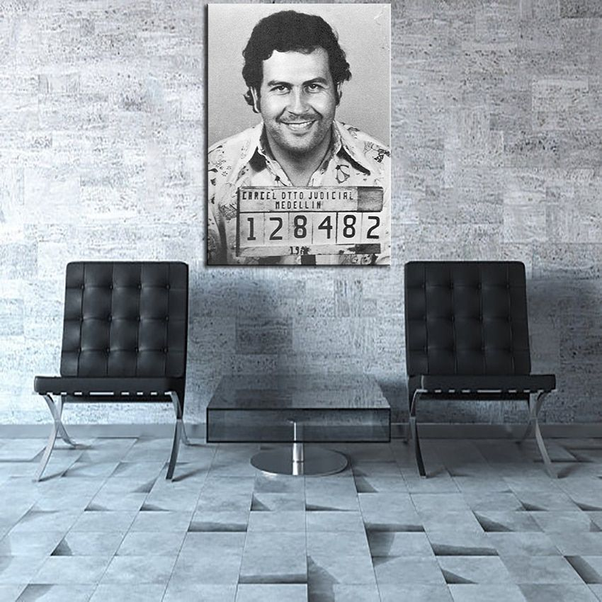 Large size Printing Oil Painting Pablo Escobar Mug Shot 1991 Vertical  Wall painting Decor Wall Art Picture No Frame