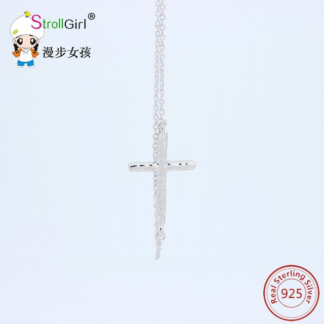strollgirl Authentic New Arrival 925 Sterling Silver Cross Necklaces Pendants Hot Sale Pure Sterling-Silver-Jewelry for original