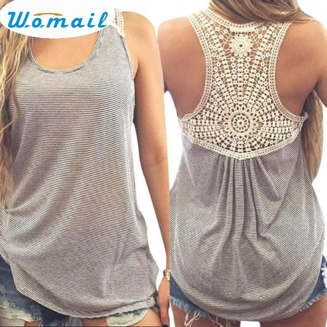 Womail Newly Design Women Fashion Lace Back Striped Vest Casual Plus Size Sleeveless Tank Top Shirt 160505 Drop Shipping