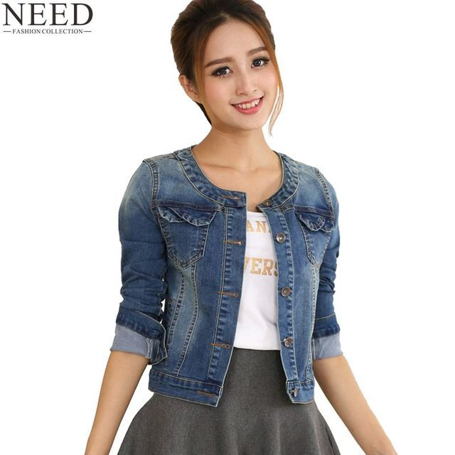2018 Spring Denim Jacket For Women Plus Size Long Sleeve O-Neck Short Jeans Jacket Women Denim Coat Ladies Coats Jacket