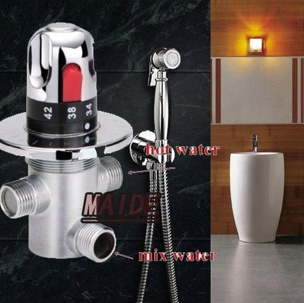 Brass Toilet Hand Held Bidet Spray Shattaf Sprayer Shower Set Jet Douche kit + Brass Holder+Thermostatic Mixing Valve