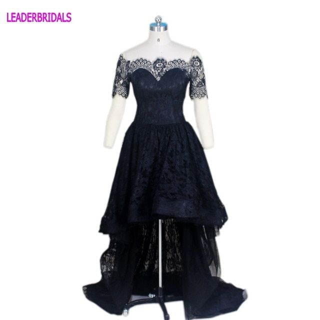 Sexy Vestidos De Festa Lace Cocktail Dresses Black Tiered Special Dresses Short Sleeves Hi-Lo A-line Prom Party Gowns D11