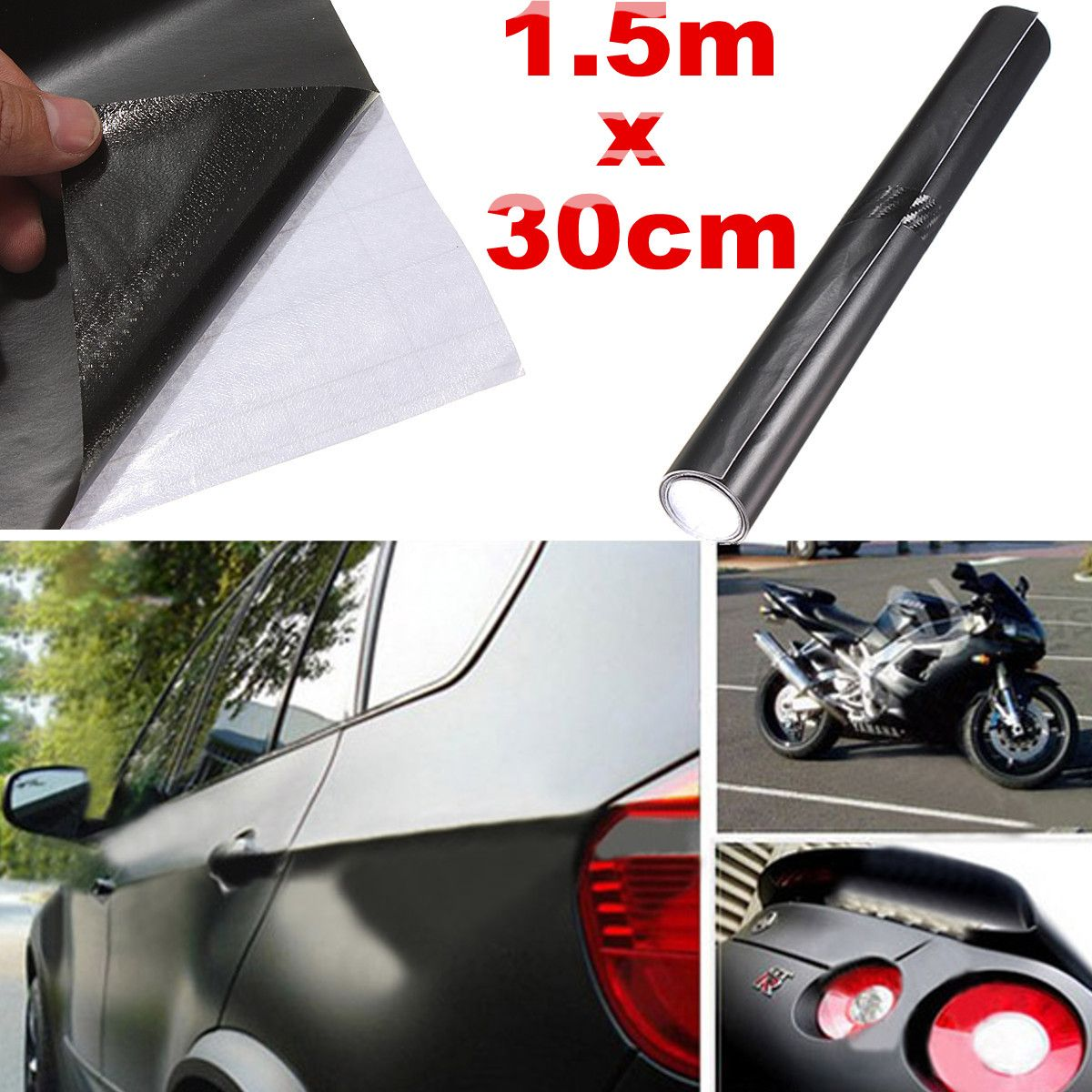 150x30cm Matt Matte Black Car Auto Body Sticker Decal Self Adhesive Wrapping Vinyl Wrap Sheet Film