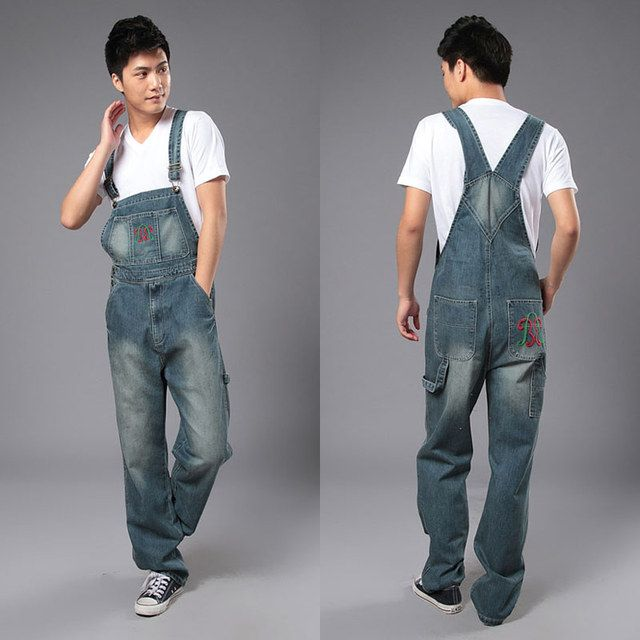 New Fashion Reminisced Men vintage Trousers Casual Jeans  WASH pants loose plus size overalls zipper denim jumpsuit