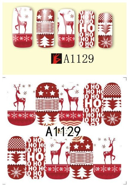 DIY Designer Horrible Christmas Water Transfer Nails Art Sticker  Nail Wraps Foil Sticker manicure stickers