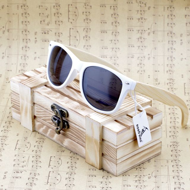 Bobobird Rectangular Oversized Bamboo Wood Polarized Sunglasses With Reflective Mirror Tint gafas de sol With Gift Box