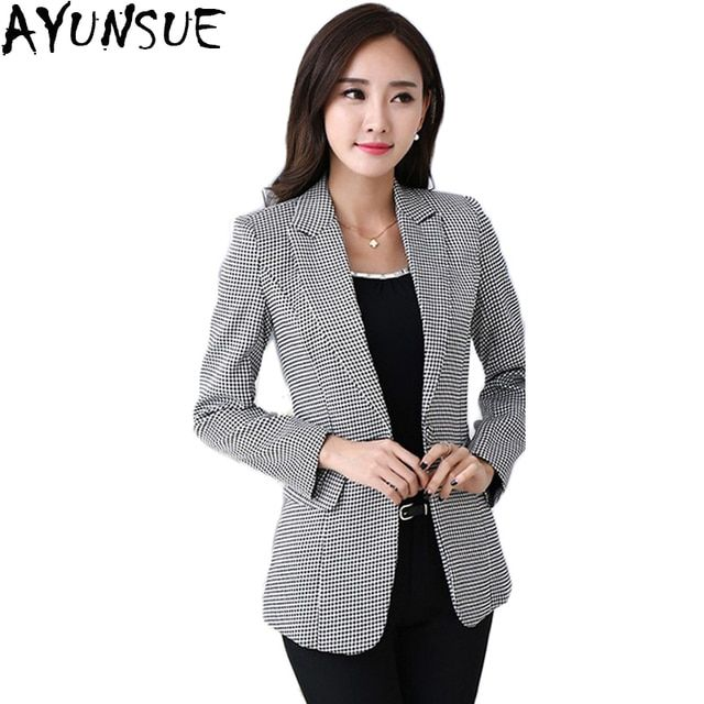 AYUNSUE Blazer Feminino 2018 New Spring Autumn Women's Jacket Houndstooth Casual Slim Women Blazers And Jackets Plus Size LX99