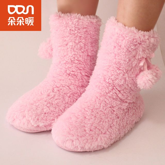 Women Winter Gaiters Socks Non-Slip Floor Warm Sock Meia Women Plus Velvet Thick Home Floor Socks Meias Pregnant Leg Warmers