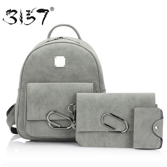 fashion scrub leather backpack women geometric metal button school bag set for girls solid small female backpack 3157