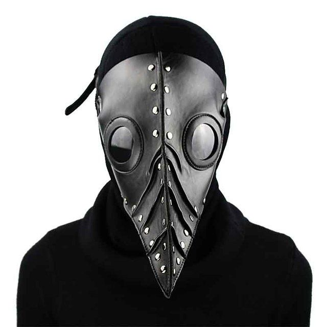 Corzzet Black PU Leather Steampunk Mask  Long Nose Plague Doctor Cosplay Gothic Steampunk Retor Rock Halloween Mask