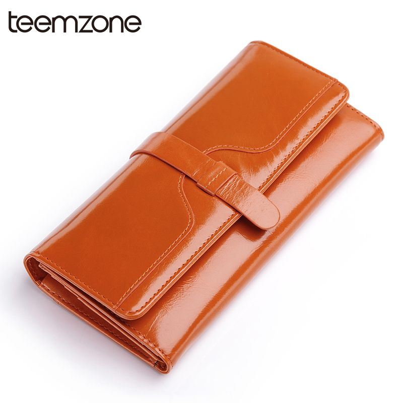 teemzone Women Oil Wax Leather Clutch Trifold Wallet Handbag Card Coin Holder Checkbook Organizer Cash Receipt Purse Q088