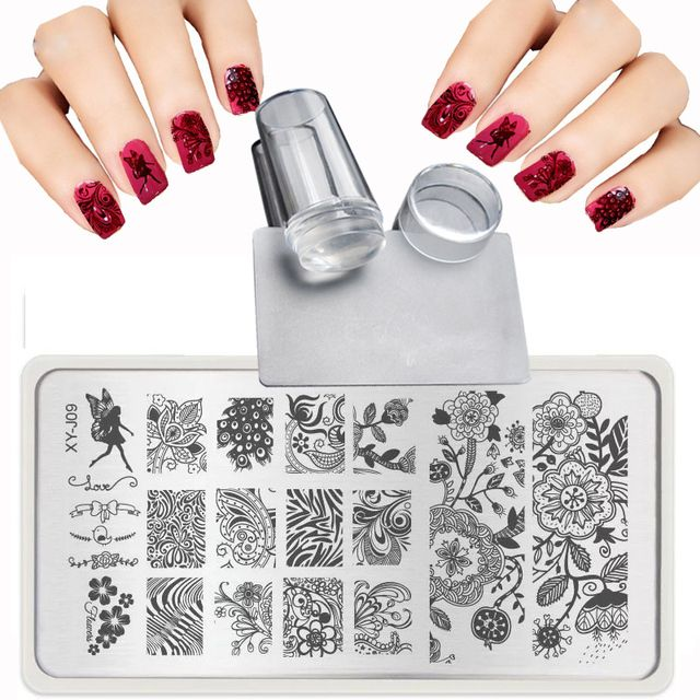 XY-J 2019 Lace Flowers Patterns for Nail Art Templates Steel plate Transparent stamp + nail stamping plates Sets Kits + Scraper