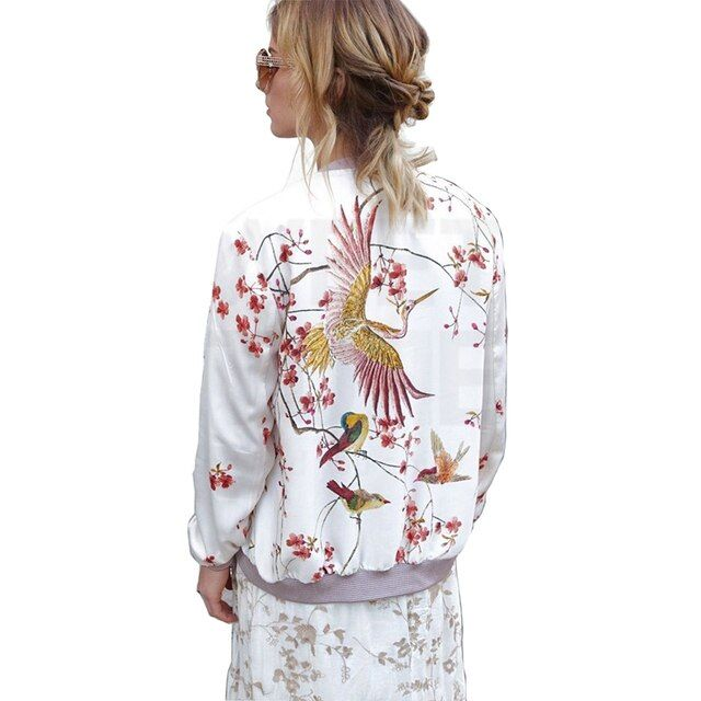 Autumn Winter 2016 White Long Sleeve Women Basic Coats Stand Collar Bird Animal Print Bomber Jacket Slim Casual Female Outerwear