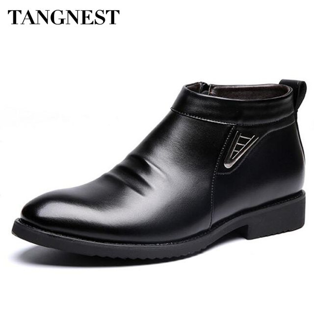 Tangnest Man's Solid Pleated  Sequined Ankle Boots Men Handmade PU Leather Shoes Men 2017 New Winter Dress Formal Flats XMP693
