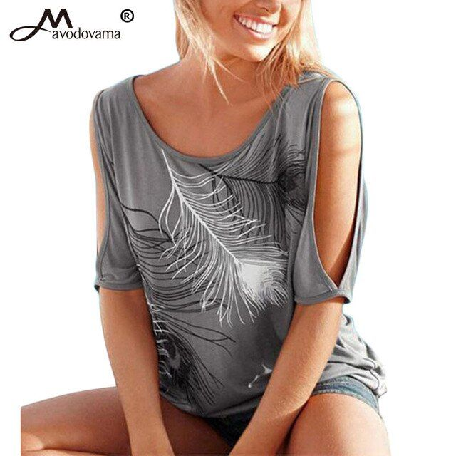 Avodovama M Summer Casual Tops 2016 Sexy Women Feather Print Off Shoulder Short Sleeve Round Neck T-Shirt Plus Size