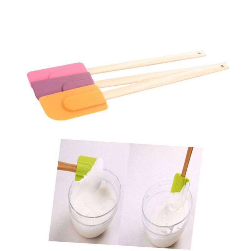 1pcs  Large Silicone Spatula Mixing Scraper Brush Butter of  kitchen Utensil Tool with  wooden Handles