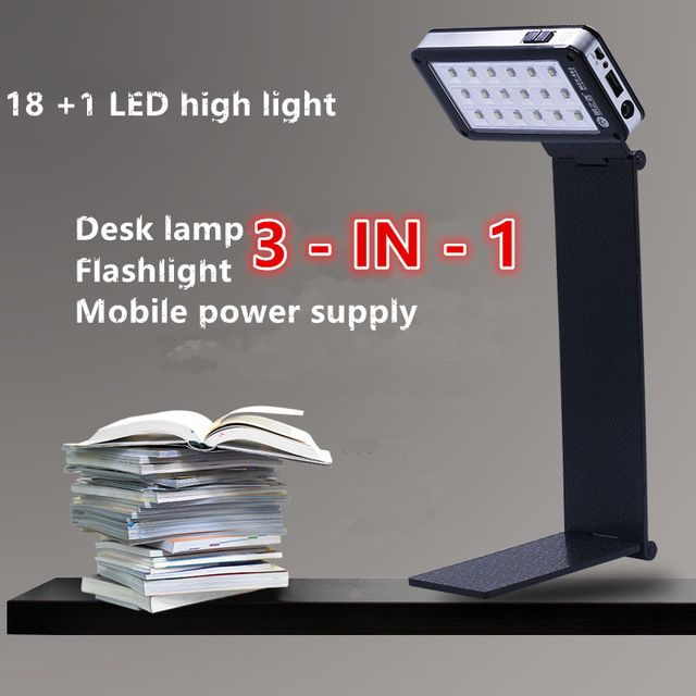2016 NEW Desk lamp Flashlight Mobile power supply 3-in-1  Folding  LED table light 19LED 110v 220v USB recharged Students read