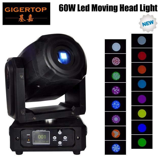 Gigertop TP-L60N New Design 60W Led Moving Head Light Glass Gobo Wheel Flower Pattern 3 Facet Prism DMX 10/15 Channels Mini Size