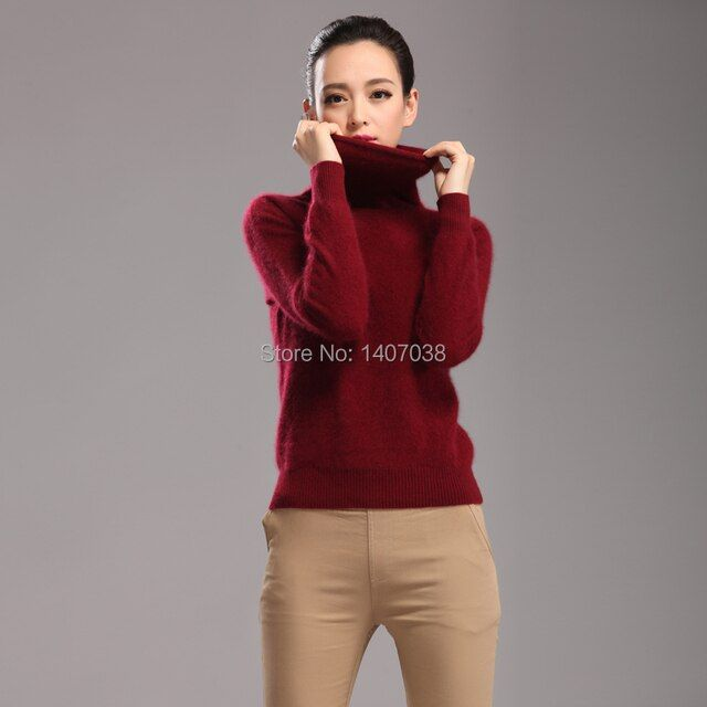 The new pure mink cashmere high collar shirt collar piles of autumn and winter women's long-sleeved sweater warm sweater hedging