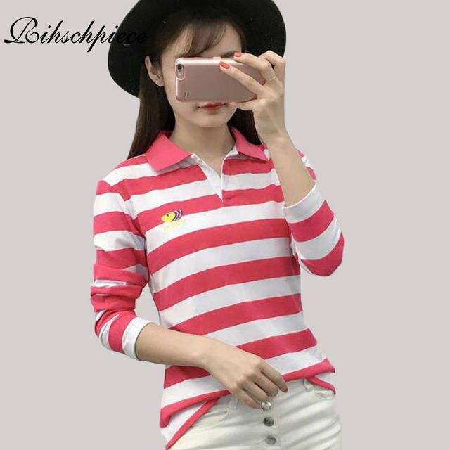 Rihschpiece Sexy Embroidery Polo Shirt Women Long Sleeve Shirts Sexy Oversize Tops Stripe Punk American Apparel Polo RZF865