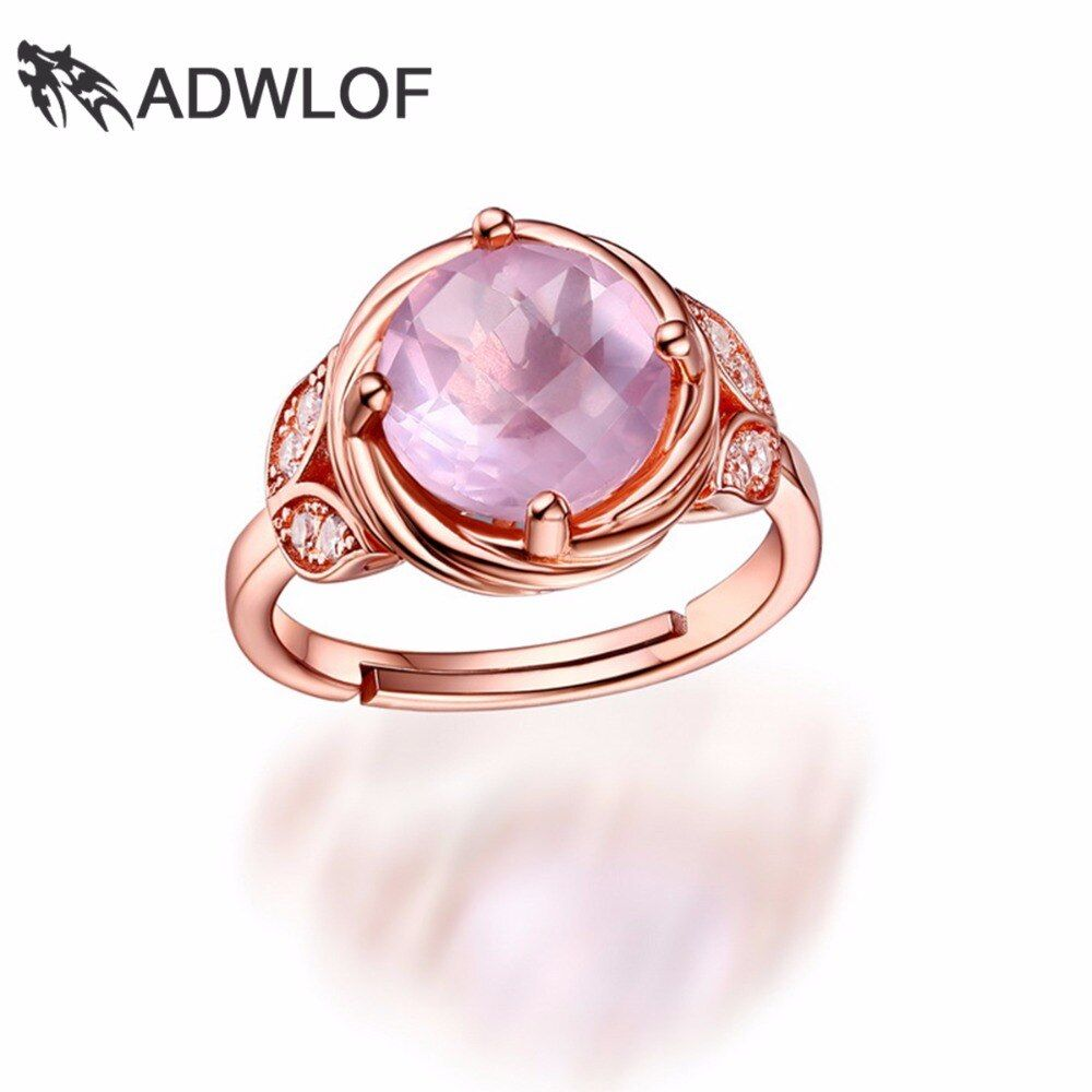 ADWLOF 3.30CT Special Cutting Round Natural Rose Quartz Rings 925 Sterling Silver for Women Luxury Engagement Jewelry