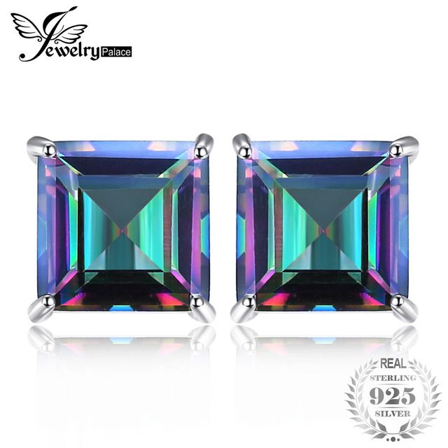 Square 6ct Natural Mystic Rainbow Topaz Earrings Stud For Girl Genuine Real Solid 925 Sterling Silver Gem Stone Jewelry NEW