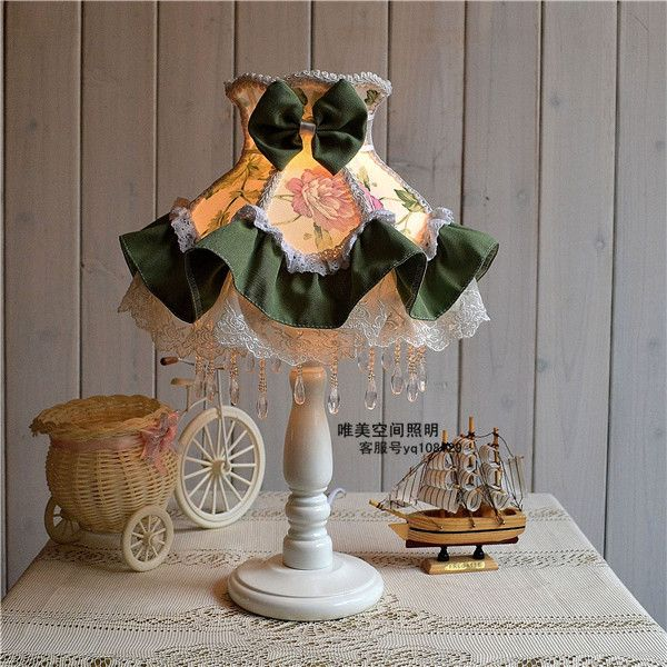 Table lamps European Style Lace Wedding Garden Lamp cloth exquisite romantic Korean Green Floral Princess bedside lamp