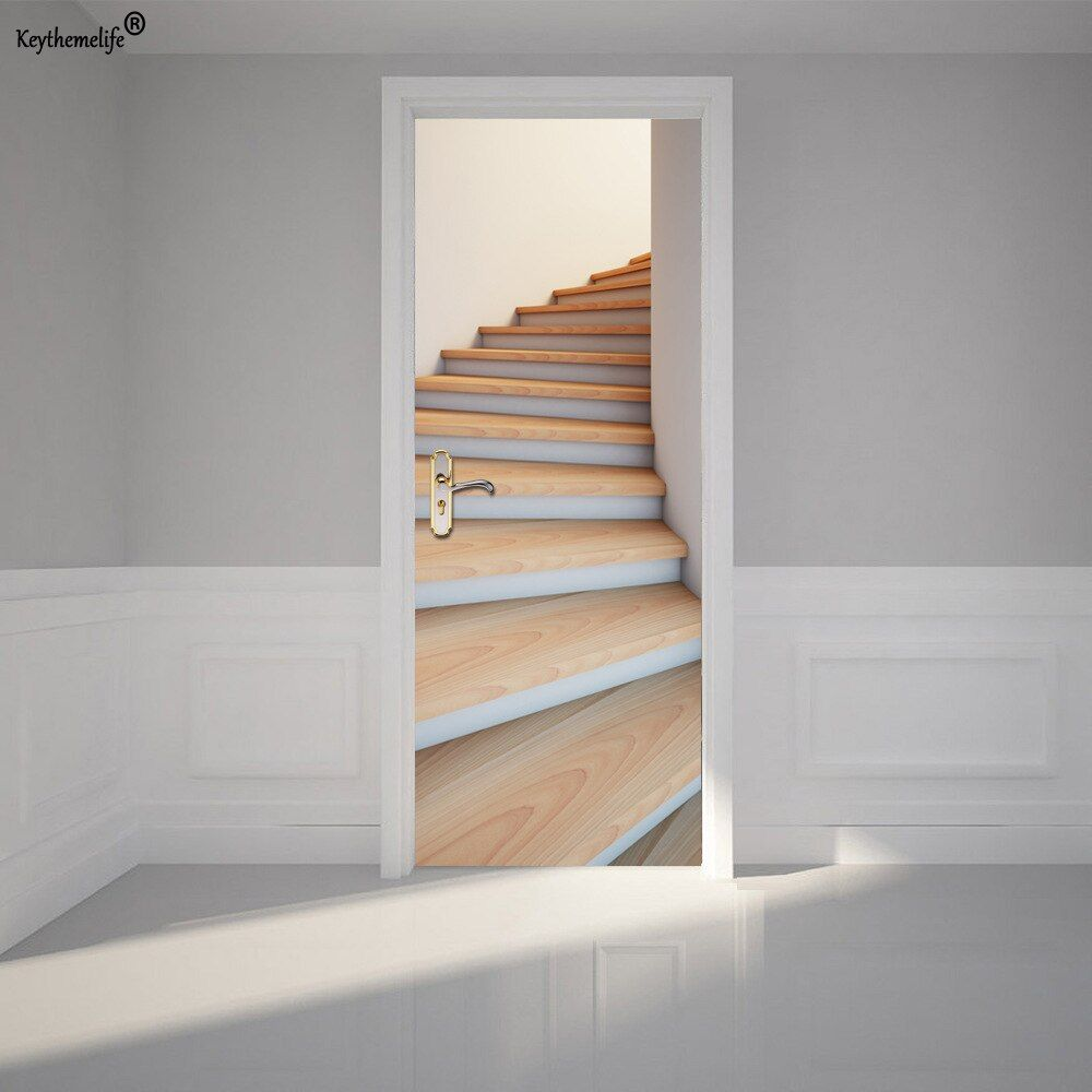 2pcs/set Wood Stairs Wall Sticker DIY Mural Home Decoration Poster PVC Waterproof Imitation 3D Door Sticker Decal CF
