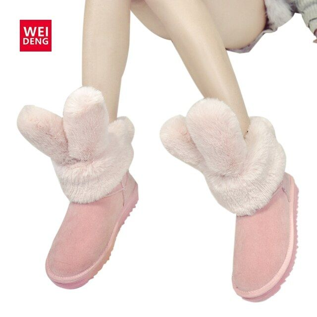 WeiDeng Rabbit Ear Winter Women Ankle Snow Fur Boots Fashion Australia Flat Platform Designer Casual Cotton Femal Shoe Christmas