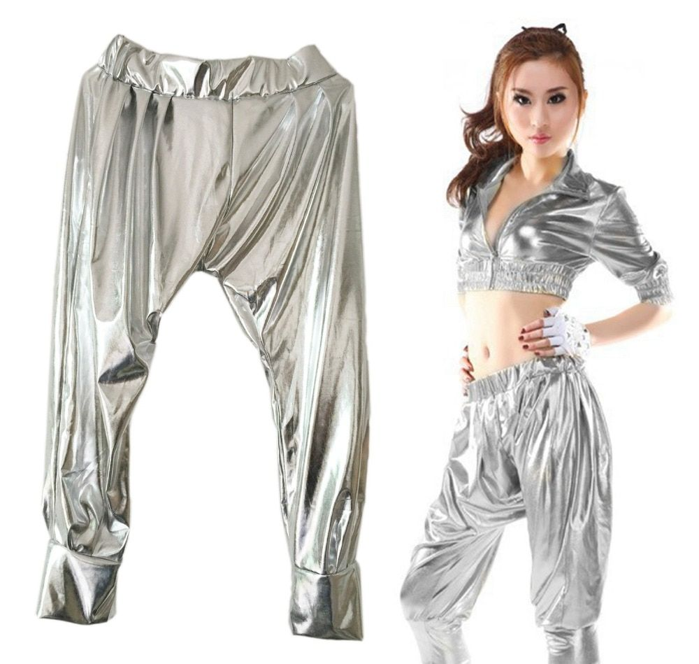 2015 New Fashion Jazz harem women hip hop dance pants stage performance costumes loose personality silver Paillette Trousers