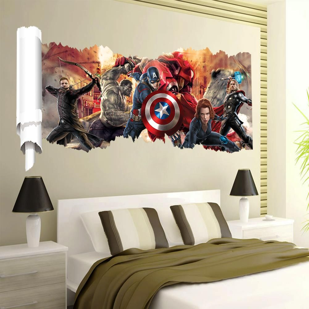 Avengers Cartoon super hero wall decal gift movie character stickers for kids room home decoration mural art poster