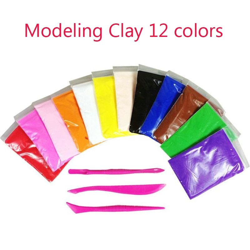 Light Soft  Polymer Clay Modeling Magic Plastilina Air Dry slime Plasticine Play Set slime Foam Clay 12 Colors Playdough