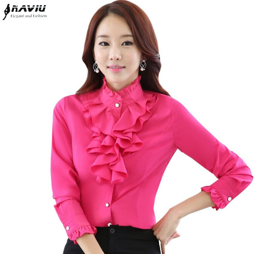 High quality long sleeve chiffon blouse Elegant women Ruffles shirt slim office blusa feminina work wear plus size tops