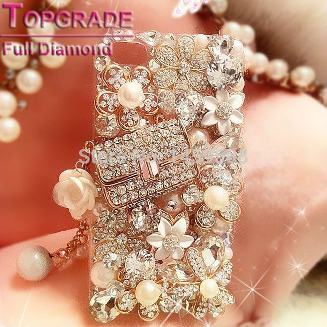 "For Alcatel One Touch pop C7 C9 Idol 2 Mini Idol 3 4.7""/5.5"" Pixi Frst 3 Handmade Rhinestone case Crystal cover Bag Style"