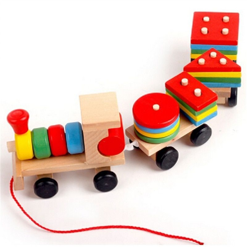 Retail security Wooden Train toys Geometric Shape Matching Wooden Stacking Blocks Baby kids Early birthday gift for children