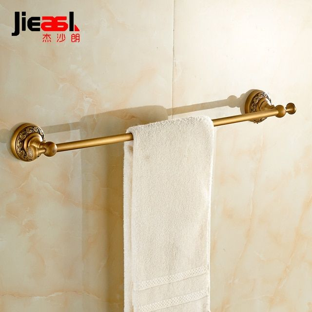 Jieshalang Antique Brass Towel Rack Bar Single Rod European Creative Carved Bathroom Hardware Accessories Set