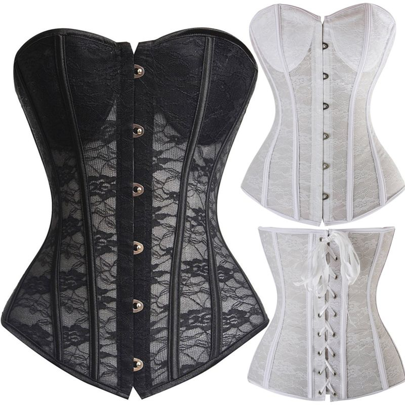 Sexy Women Lace Sheer Overbust Bra Corsets And Bustiers Tops Wedding Lingerie Costumes Lace Black and White S-2XL