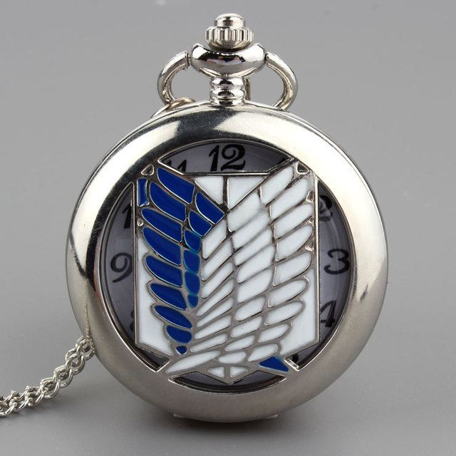 Silver Wing Hollw Quartz Pocket Watch Necklace Pendant Men Women Chain Gift P272