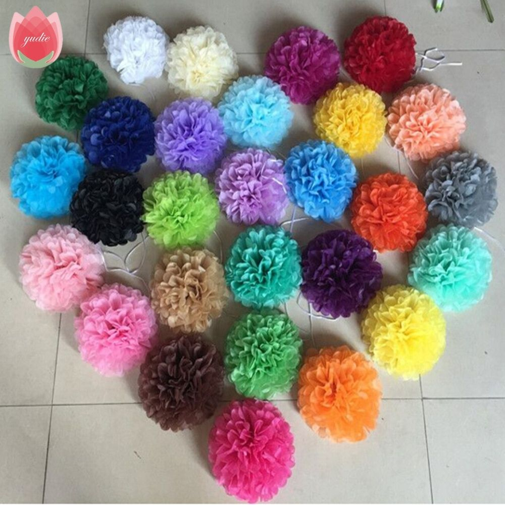5pcs Big 30cm Paper PomPom Tissue Flowers Balls For Home Wedding Party Car Banquet Room Decoration Mariage crafts Supplies
