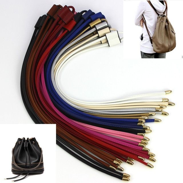 Women Girls Detachable PU Leather Bag Strap Belt Bucket bag Drawstring bunches Accessories backpack Beam pocket