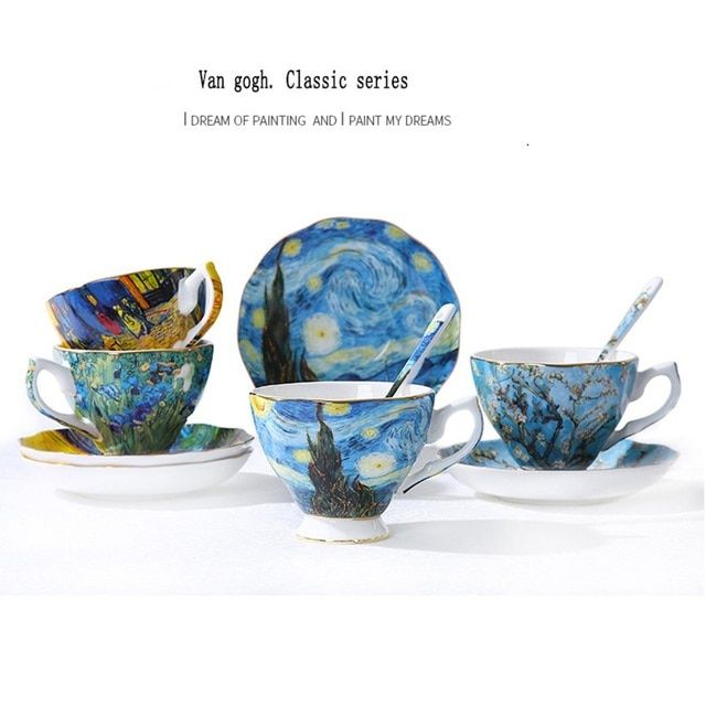 Creative gift Van Gogh oil painting colored drawing ceramic cup saucer large capacity lovers bone china coffee milk tea cup