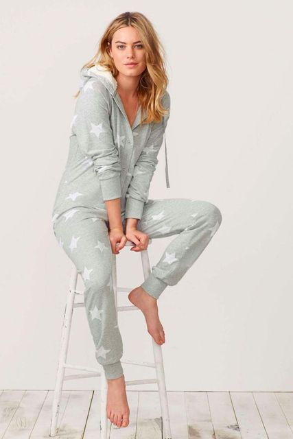 [wiki's store]New Designer Spring and Autumn Adult woman jumpsuits casual star pajamas XS-XL