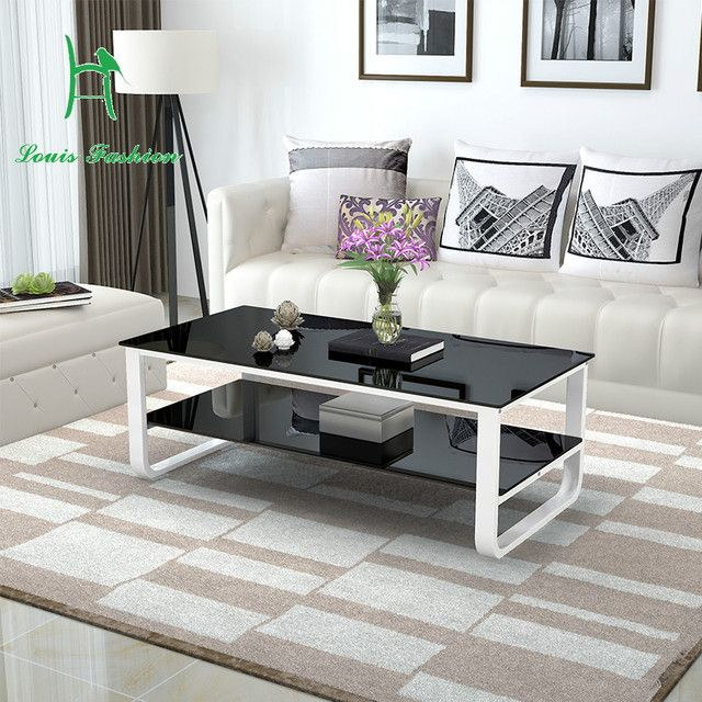 Multifunctional paint double tempered glass surface size table simple modern living room apartment layout creative small desk