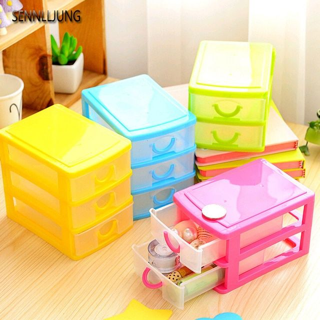 2017 -double Plastic Storage Box Translucence Desktop Home Office Cosmetics Jewelry Drawers Mini Cute Drawer Organizer Europe