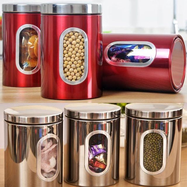 3Pcs Stainless Steel Tea Coffee Storage Tank New Storage Box Tea Coffee Canister Sugar Nuts Candy Storage Jar Tea Spices Boxes