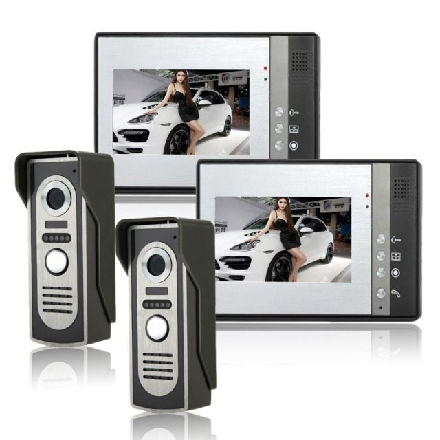 Wired Video Door Phone system Intercom Doorbell Kit IR Camera Video Intercom SYSD two to two video Doorphone With lock function
