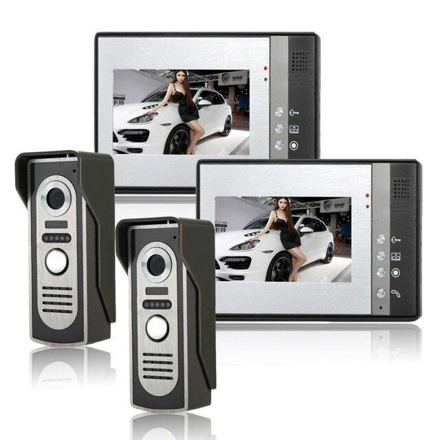 wired Video Door Phone Wired Intercom Doorbell IR Camera Video Intercom SYSD two to two video Doorphone With lock function